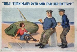 Sailors Wanting to Spank Marys Bottom by Ship Old Comic Postcard