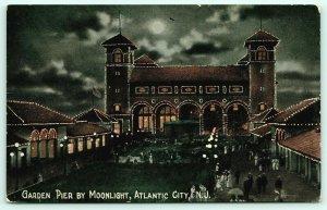 Atlantic City NJ~Garden Pier by Moonlight~Light Bulbs Outline Buildings~1910
