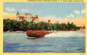 NY - Thousand Islands. Speedboat near Boldt Castle