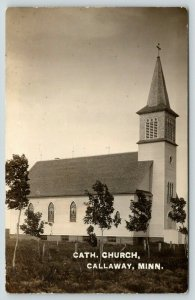Callaway Minnesota~Young Trees Growing Next to Roman Catholic Church~RPPC 1911