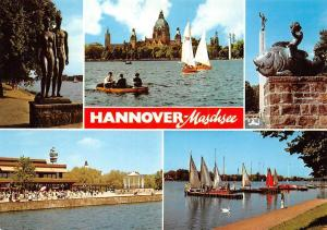 Hannover Maschsee, Fish Statues Lake Boats General view