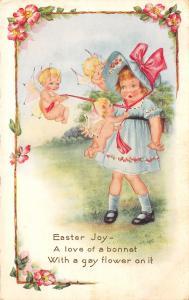 Easter Fantasy~Pink Bat Wing Antenna Alien Babies~Sunbonnet Girl~Whitney Made