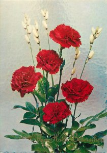 Postcard Greetings flowers red bouqeut