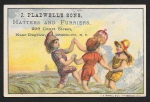 VICTORIAN TRADE CARD J Pladwells Sons Hatters & Furriers Kids Playing at Water
