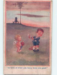 Pre-Linen Valentine signed TULSON - CUPID WANTS BOY TO SEE GIRL ON HILL HL5165