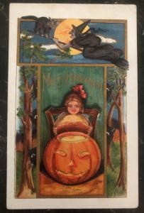 Mint Vintage USA Picture Postcard PPC  Merry Halloween Girl And Pumpkin