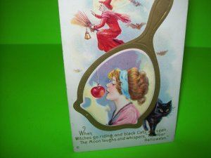 Halloween Postcard Stecher Original Vintage 248 Magic Mirror Witch Black Cat