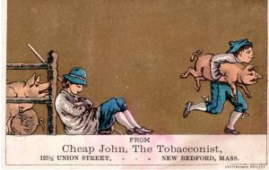 VICTORIAN TRADE CARD, CHEAP JOHN, THE TOBACCONIST.