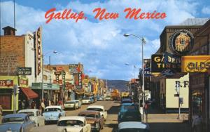 Gallup New Mexico NM Chief Coors Vidal's Olds Mace Tire Service Postcard D25