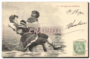 Postcard The Old Woman swimming lesson