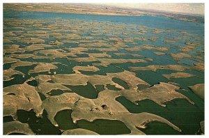 Vintage Aerial View Sand Dunes at Potholes Reservoir Washington Postcard 1969