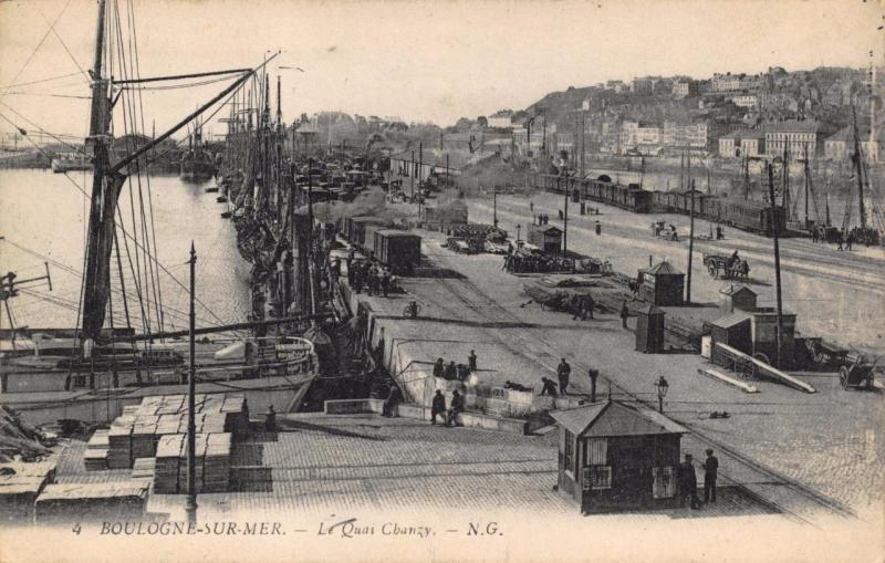 Vintage Postcard BOULOGNE SUR MER Le Quai The Pier Chanzy Dock FRANCE