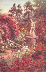 When the Flowers are in Bloom, Statuette Statue Garden, Jardin, Garten Oilette