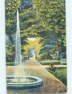 Pre-1907 foreign BEAUTIFUL WATER FOUNTAIN ON PATH IN THE PARK HL7590