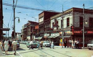 Wilkinsburg Pennsylvania~Penn/Wood Street~Rands Rexall Drugs~Policeman~50s Cars