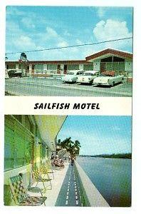 Sailfish Motel Cars Hollywood Beach Florida 1950s postcard