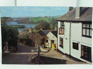 Vintage Postcard Higher Street and River Dart Dittisham Red Lion Inn Post Office