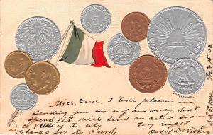 Coin Postcard, Old Vintage Antique Centavos, Mexico