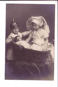 Boy and Girl with Baby Doll in Carriage, Photo of Children