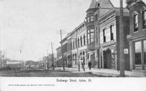 Galva Illinois~Exchange Street Banks~Jobs~News Banners~Railroad Tracks~1910 B&W