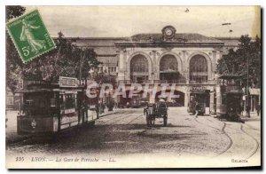 Old Postcard Lyon Perrache station