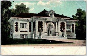 Marion, Ohio Postcard Carnegie Library Building / Street View c1900s UNUSED