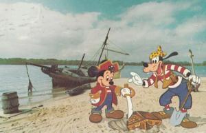 Mickey Mouse & Goofy On Discovery Island Cartoon Walt Disneyland USA Postcard