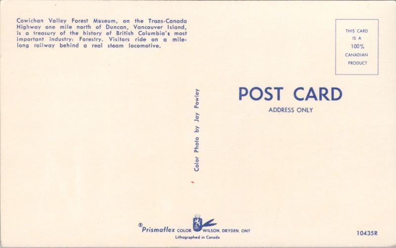 Locomotive Cowichan Valley Forest Museum Duncan BC Unused Vintage Postcard E31