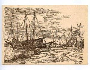239298 GERMANY Herbert Bartholomaus Fischboote am Bodden old postcard