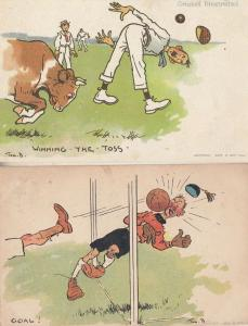 Tomr Browne Goal 1905 Antique & Repro Winning The Toss 2x Cricket Comic Postcard
