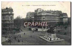Paris - 14 - Overview of the Lion of Belfort Square - Old Postcard
