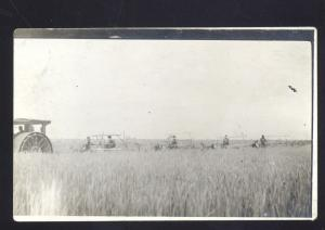 RPPC PRATT KANSAS WHEAT FARM FARMING VINTAGE TRACTOR REAL PHOTO POSTCARD