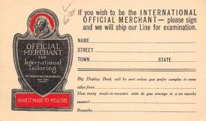 Chicago IL International Tailoring~Merchant Made-To-Measure Advert~Postal c1915