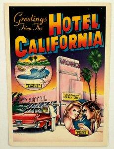 1983 Greetings Hotel California Ron Kriss Postcard Novelty Sunset Vine Trainor