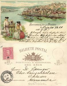 portugal, PORTO, Multiview Lithography, Panorama, Costumes (1899) Stamp