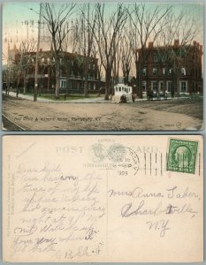 PLATTSBURGH N.Y. POST OFFICE & WITHERILL HOUSE 1909 ANTIQUE POSTCARD