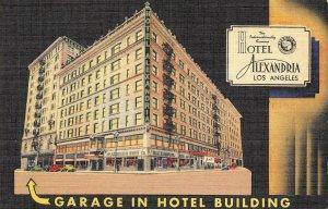 HOTEL ALEXANDRIA Los Angeles, California ca 1940s Vintage Linen Postcard