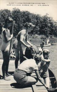 Camp Oakledge , WARSAW , Missouri - GIRL SCOUTS , 20-30s ; Canoes
