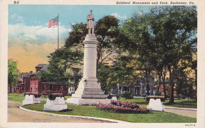 Soldiers' Monument and Park - Rochester PA, Pennsylvania - Linen