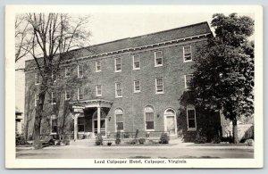 Culpeper Virginia~Lord Culpeper Hotel~Highway 29 & 15~1951 Postcard
