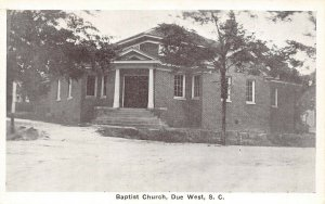 LP67 Due West South Carolina Baptist Church  Postcard