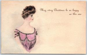 c1900s Holiday Postcard Pretty Girl May Every Christmas Be as Happy as This One
