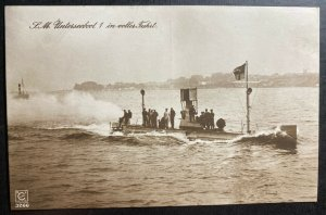 Mint Germany Real Picture Postcard RPPC U boat submarine 1 In Full Speed