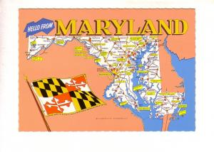Hello from Maryland, Pictorial Map, State Flag