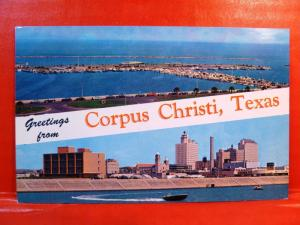 Postcard TX Corpus Christi Dual View Greetings Skyline and T Heads View #2