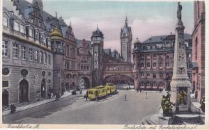 FRANKFURT A. MAIN, Street Cars, Paulsplatz mit Einheitsdenkmal, Hesse, German...