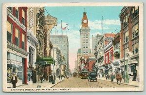 Baltimore MD~Theatre Street~Gayety~Comedy~Victoria~Presto Lunch~Trolleys~1918
