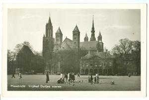 Maastricht, Vrijthof Duifjes voeren, 1954 used real photo