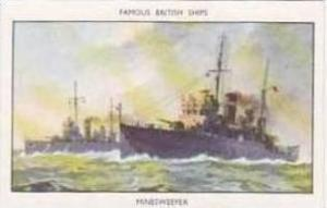 Mills Vintage Cigarette Card Famous British Ships No 18 Minesweeper
