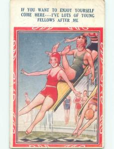 Bamforth Risque Comic SEXY GIRL ON WATERSLIDE AB6898